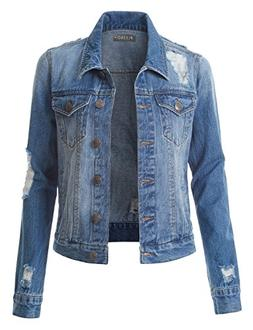 LE3NO Womens Vintage Distressed Long Sleeve Ripped Boyfriend